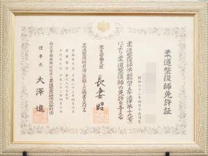柔道整復師免許証 イメージ